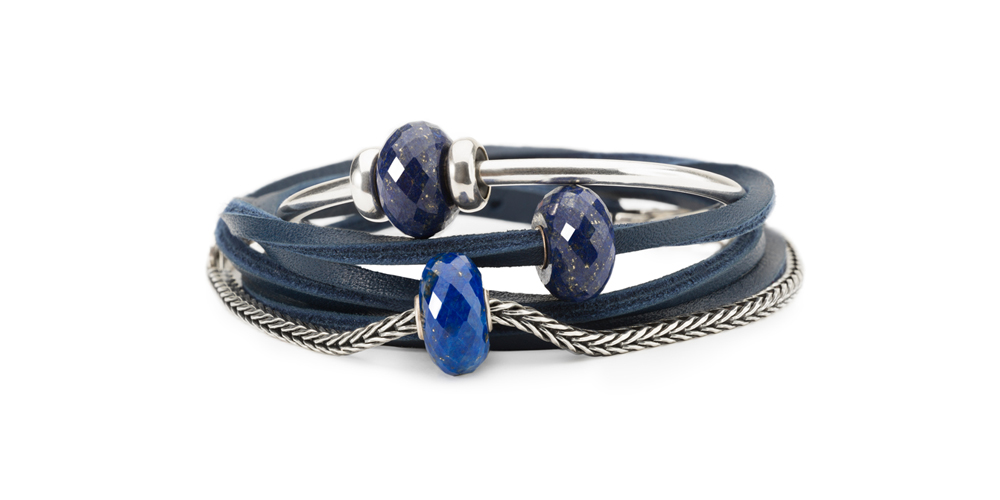 Leather and silver bracelets and silver bangle all with lapis lazuli jewellery beads