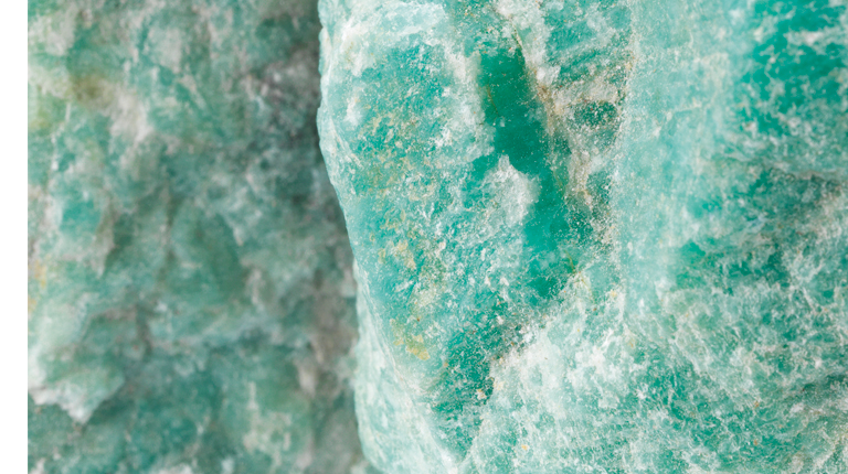 Raw Amazonite gemstone closeup