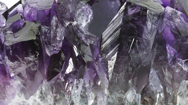 Close up of a raw amethyst