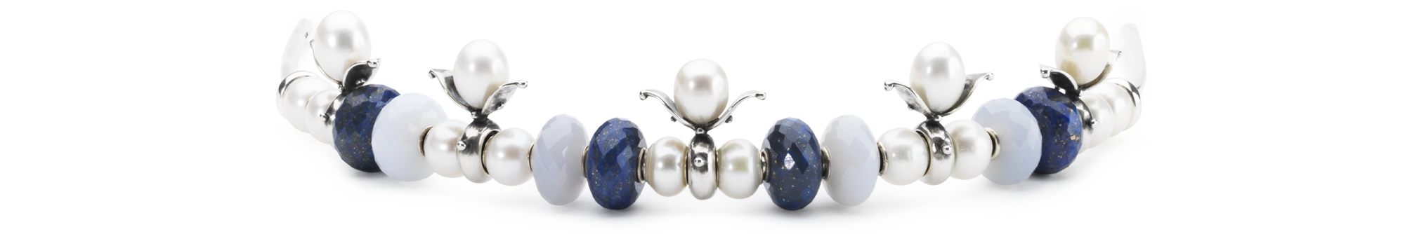 Tiara with Lapis Lazuli and grey moonstone beads, and Budding Pearl Spacer, and white pearl beads