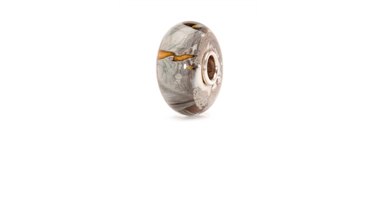 Silver Mountain glass bead in grey murano glass with patterns of silver and brown