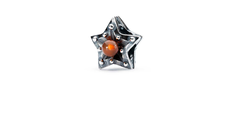 Trollbeads Sterling silver Star of Courage bead with Carnelian gemstone stone