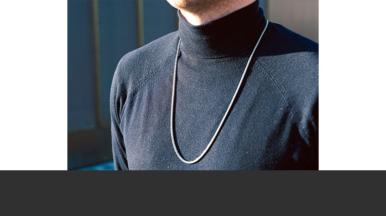 Sterling silver necklace on male model