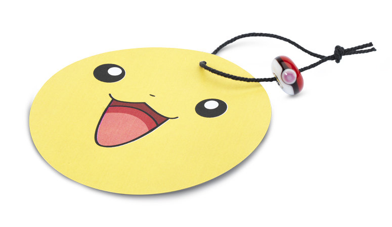 Pikachu cutout with a Pokeball bead