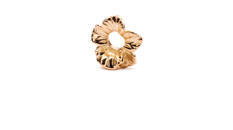 Fantasy Hibiscus, Gold is a delicate gold flower bead