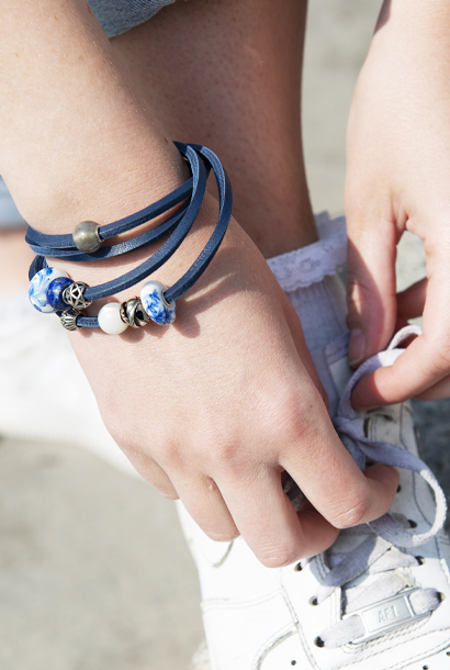 Blue Leather Trollbeads bracelet with round gemstones, silver and porcelain jewellery beads