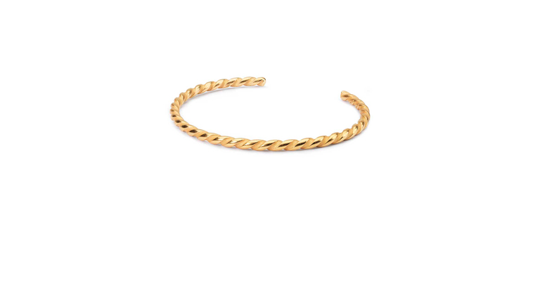 Twisted Gold Plated Bangle. Mix the classic and twisted bangles for a stunning expression.