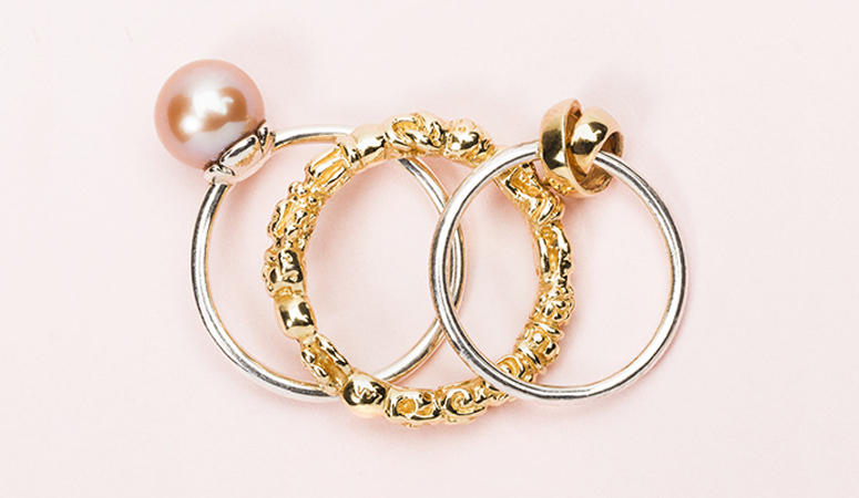 Rose Pearl ring, gold Troll ring and Neverending gold ring