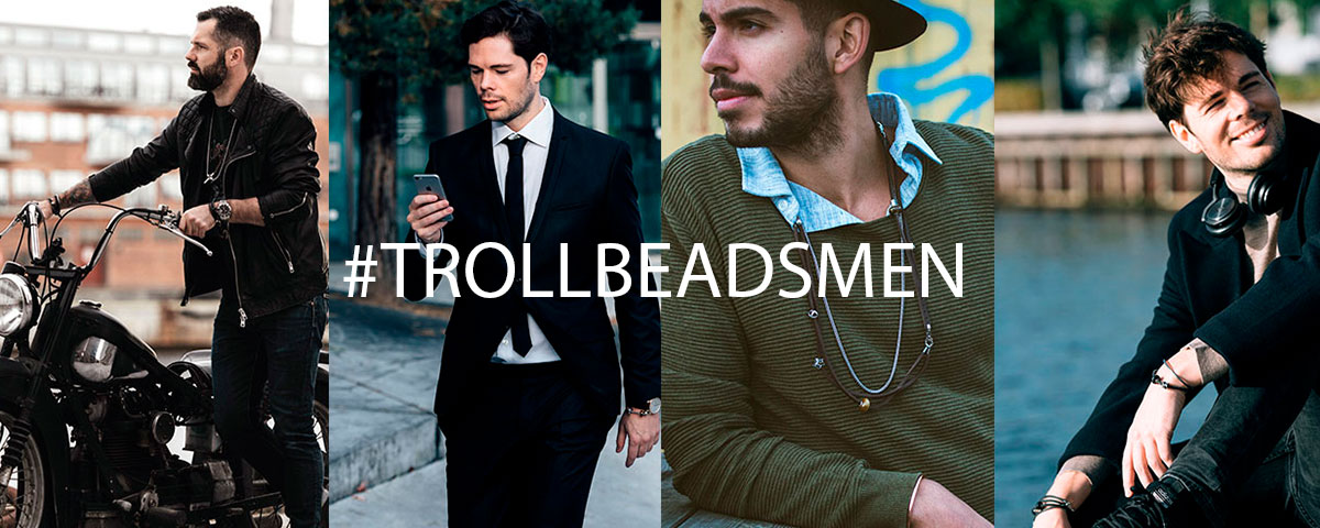 Images of four stylish men wearing Trollbeads bracelets and necklaces. Click the images to enter the Trollbeads men's univers and shop products.