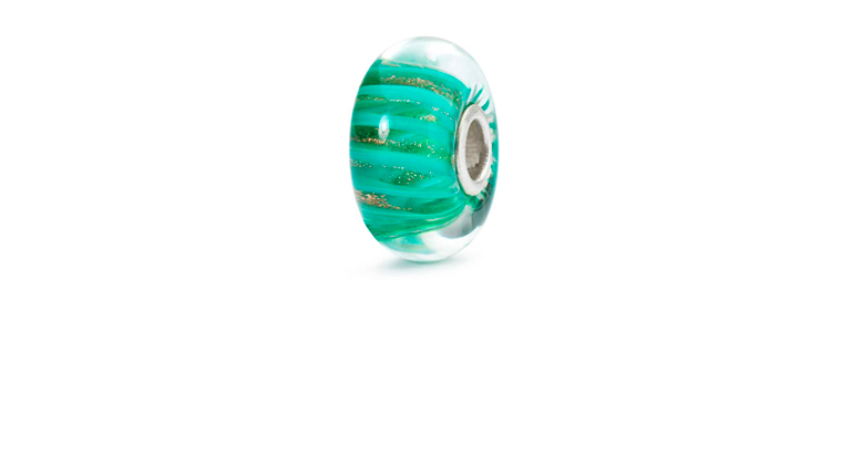 Trollbeads Soulmates glass bead with green swirls with golden glitter swirls