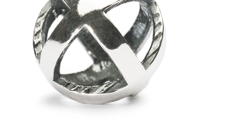 Stay positive sterling silver bead