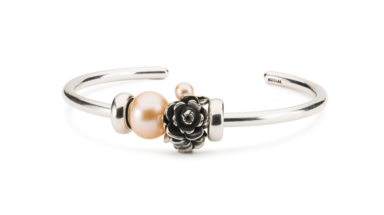 Silver bangle with new Compassion Rose bead and Freshwater rosa pearl
