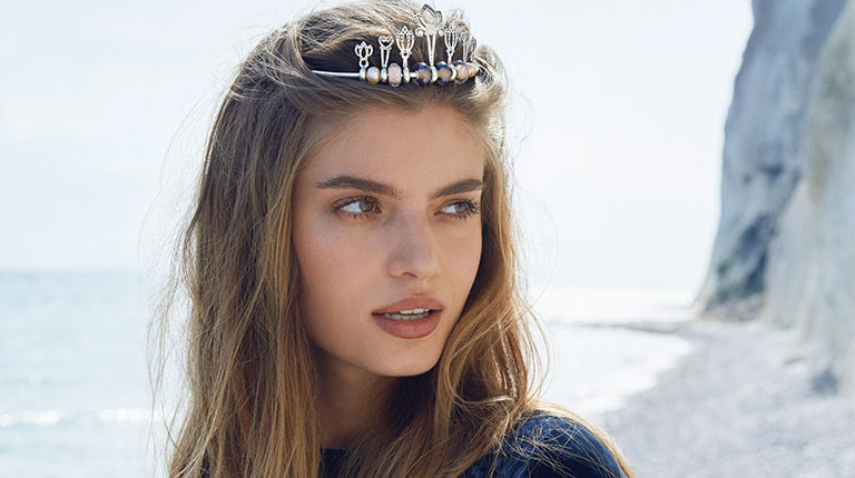 Image of a woman wearing a lovely styled Trollbeads Tiara.