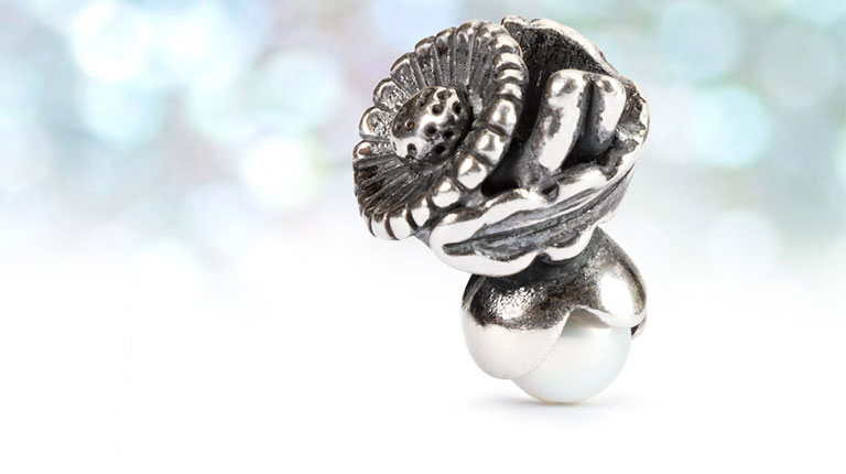 A close up of a silver bead with pearl detail