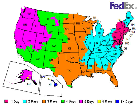 US shipping timeframe map for FedEx from New Jersey
