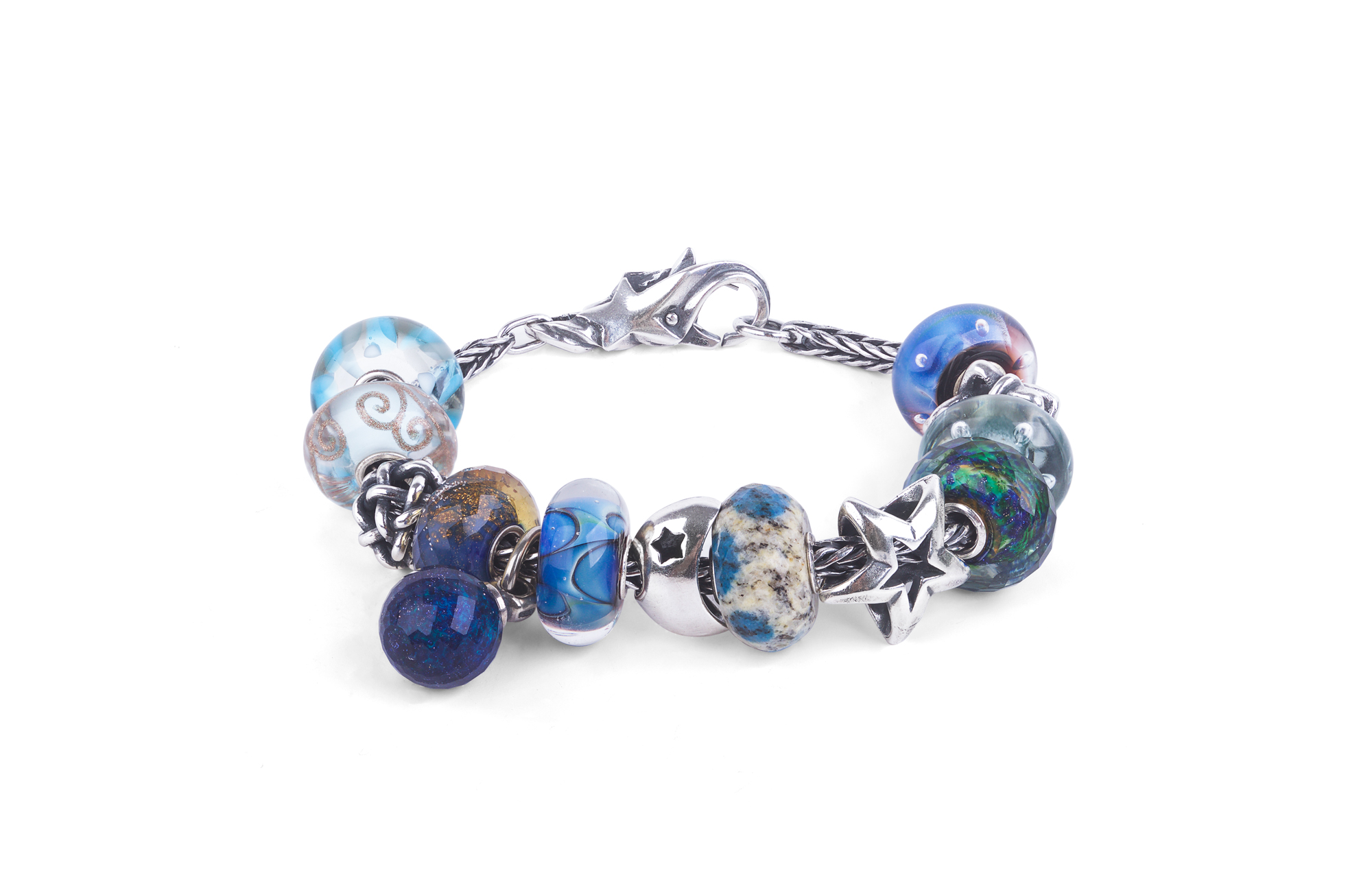 Sterling silver bracelet with charms, Lucky star silver lock, Clouds silver bead, labradorite gemstone bead, Misty bubble Joy glass Bead, Positive change silver bead
