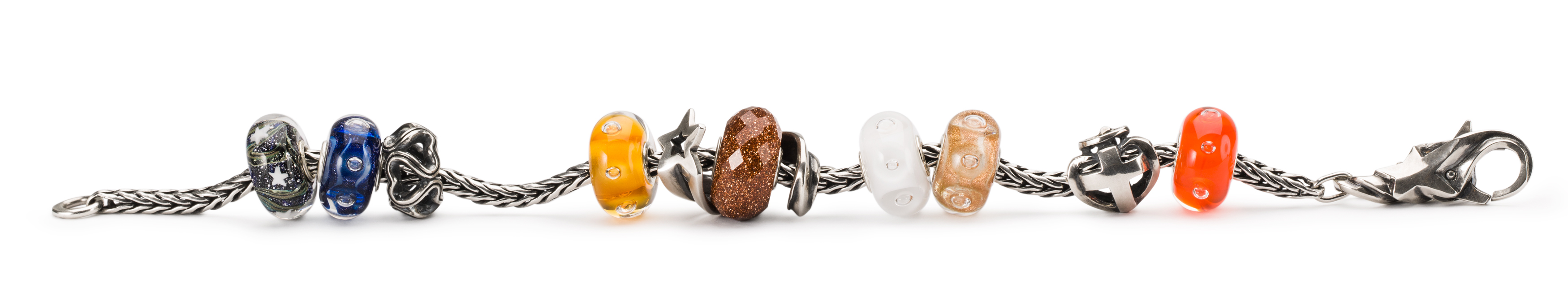 Straight bracelet displaying jewellery from the new harmony harvest collection.